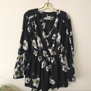 Free People Black and floral tunic